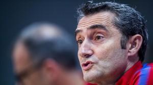 Ernesto Valverde, en la conferencia de prensa de hoy, previa al entrenamiento en la Ciudad Deportiva Joan Gamper.