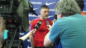 García Pimienta, en la rueda de prensa previa al desplazamiento a Almería.