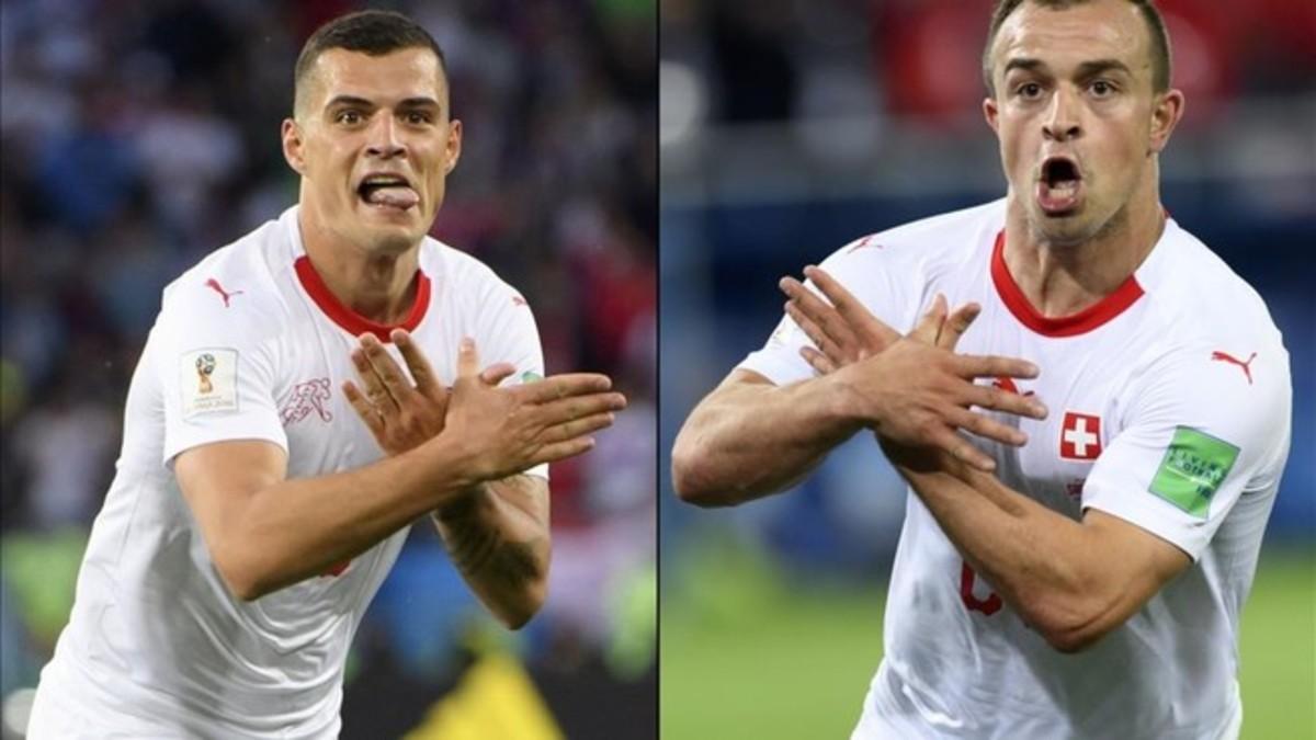 Granit Xhaka y Xherdan Shaqiri, helvéticos de origen albanokosovar, celebraron sus goles haciendo la doble águila albanesa