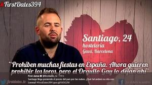 Santiago Contreras, en unmomento de su intervención en el programa de Cuatro First dates.