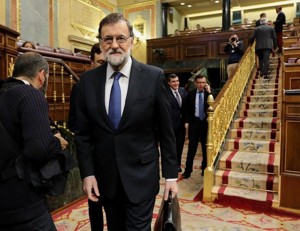 El presidente del Gobierno, Mariano Rajoy, en el pleno del Congreso dedicado al debate sobre pensiones.