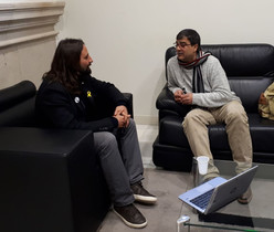 Jordi Albert, presidente de la Federació Comarcal ERC Baix Llobregat, reunido con Juan Antonio Heredia.
