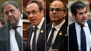 Oriol Junqueras, Josep Rull, Jordi Turull y Jordi Sánchez, en imágenes del día de la constitución del Congreso de los Diputados.