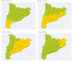 Mapas de riesgo de precipitación de este domingo en Catalunya.