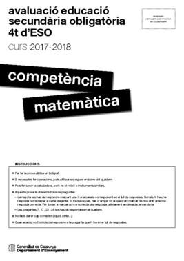 Prueba de competencias básicas en Matemáticas de 4º de ESO 2017-2018