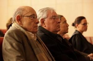 Millet junto a Montull, en el centro, y la hija de este, en el juicio del caso Palau.