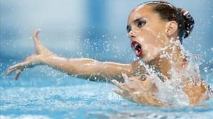 Ona Carbonell, en los Mundiales de Kazán 2015 en los que logró dos medallas individuales.
