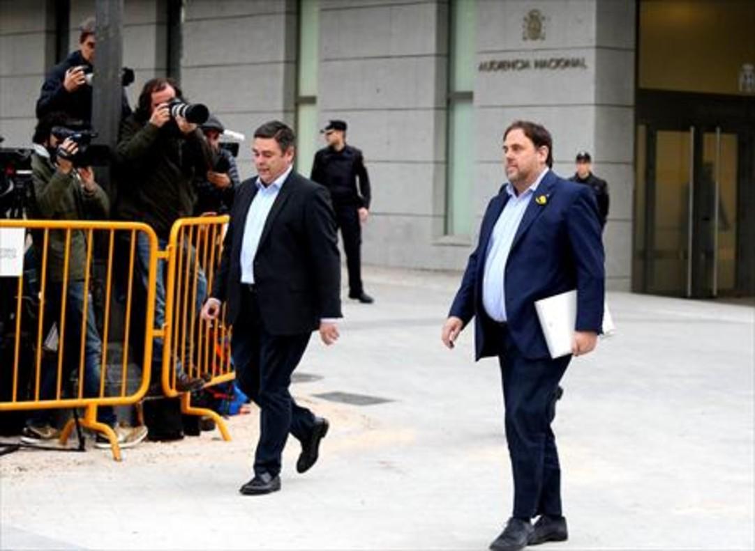 Oriol Junqueras, a su llegada a la Audiencia Nacional, el jueves.
