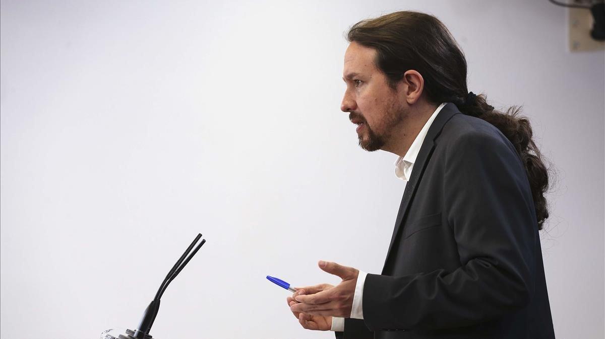 Pablo Iglesias, tras su reunión con el Rey.