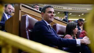Pedro Sánchez, durante el debate de la moción de censura.