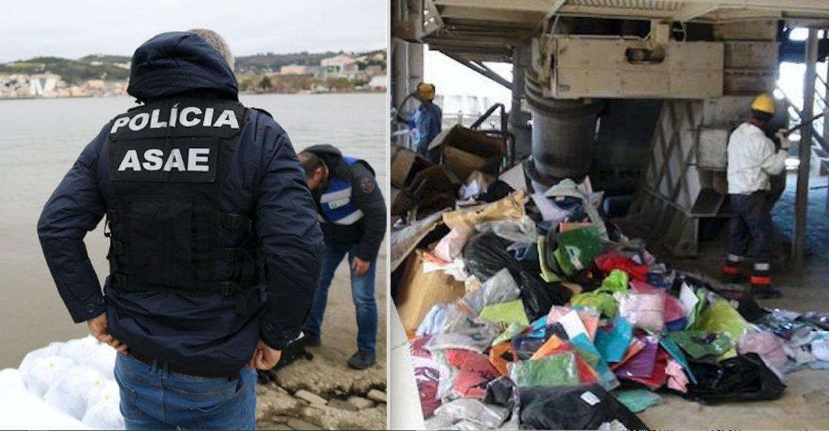 A la izquierda, agentes de la ASAE portuguesa inspeccionan en la ría de Vila do Conde. A la derecha, destrucción de ropa deportiva falsa en una cementera del norte de Portugal en julio pasado.