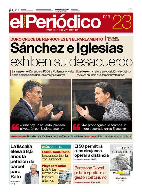 La portada de EL PERIÓDICO del 23 de julio del 2019
