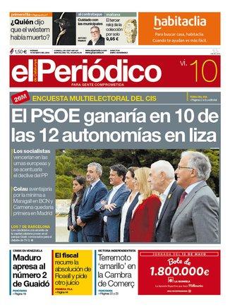 La portada de EL PERIÓDICO del 10 de mayo del 2019