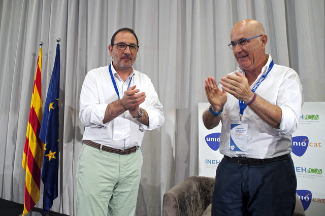 El presidente del comité de gobierno de UDC, Josep Antoni Duran i Lleida, y el secretario general de la formación, Ramon Espadaler, en la clausura de la convención programática estratégica.