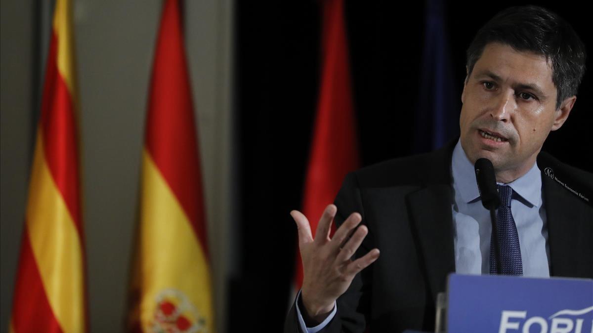 El presidente de Societat Civil Catalana, José Rosiñol, en una conferencia este miércoles en Madrid.
