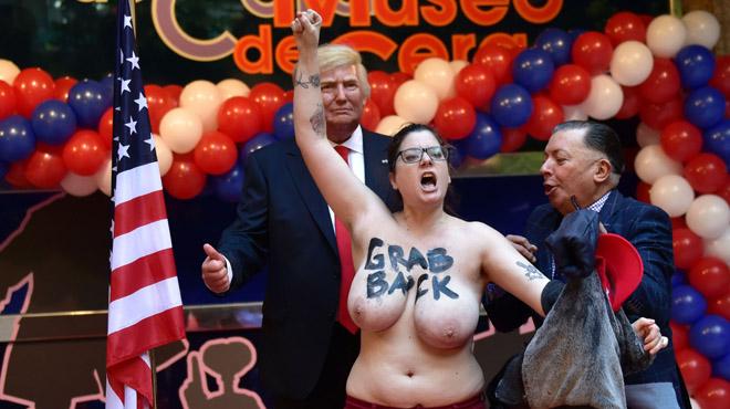 Femen irromp en la inauguració de l'estàtua de Trump al Museu de Cera de Madrid