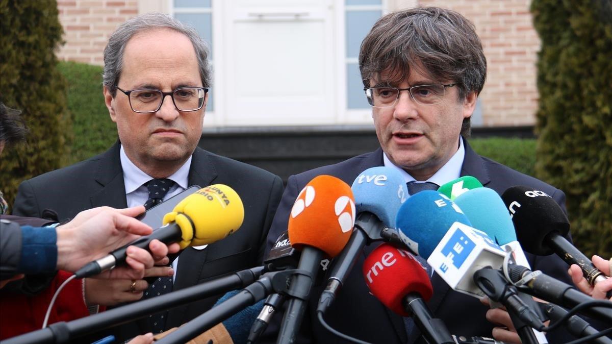 Quim Torra y Carles Puigdemont, en Waterloo.