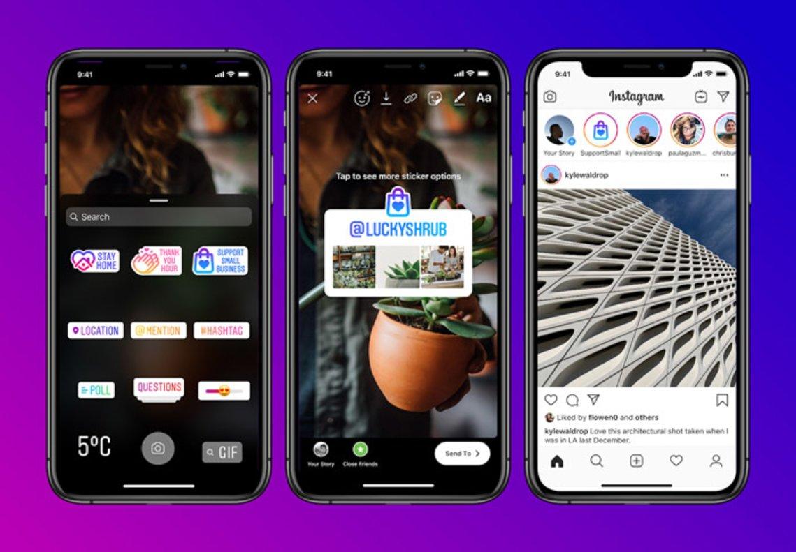 Nuevas funciones para dar visibilidad a las pequeñas empresas en las historias de Instagram.