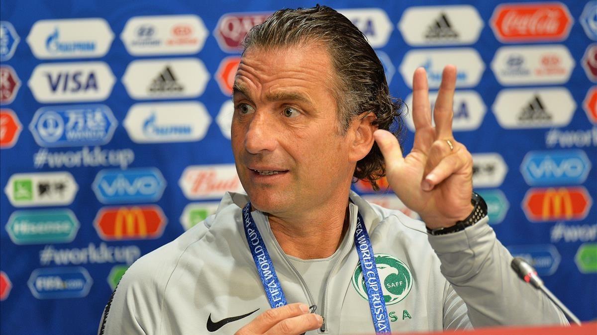 Pizzi, en la rueda de prensa de este miércoles antes del partido contra Rusia.