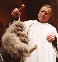 Un sacerdote bendiciendo a un gato.