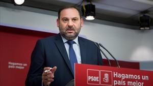 El secretario de Organización del PSOE, José Luis Ábalos, el martes en la sede del partido.