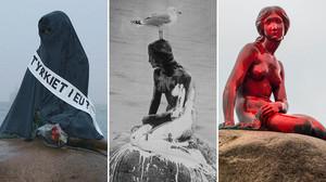 La sirenita con burka (2004), con pintura blanca (1972) y de rojo, este martes pasado.