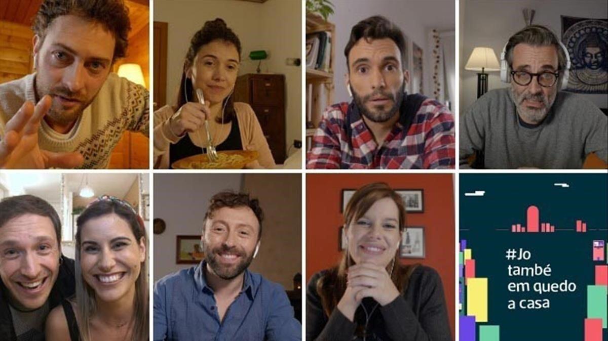 Una imagen de los actores de la serie de TV-3 'Jo també em quedo a casa'.