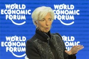 La titular del FMI, Christine Lagarde, durante unaintervención en el foro de Davos.