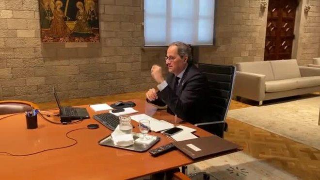 El presidente de la Generalitat, Quim Torra, participa en la videoconferencia de Sánchez con presidentes autonómicos