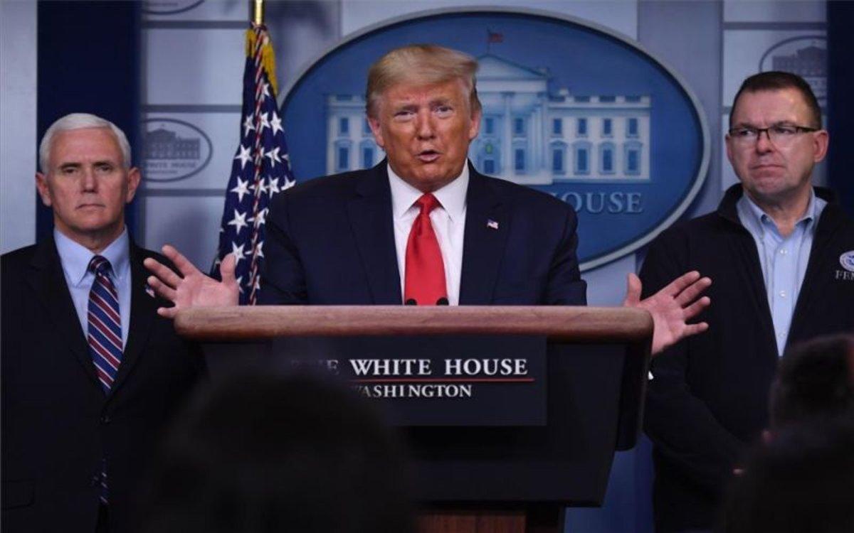 Donald Trump en una conferencia en la Casa Blanca.
