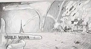 Una viñeta alude a la atención mediática sobre París frente a lo que sucede en los países de Oriente Próximo.