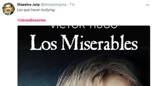 Uno de los tuits publicados con el hashtag #LibrosDocentes