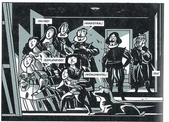 Viñeta de Las Meninas y página donde Velázquez increpa a Felipe IV.