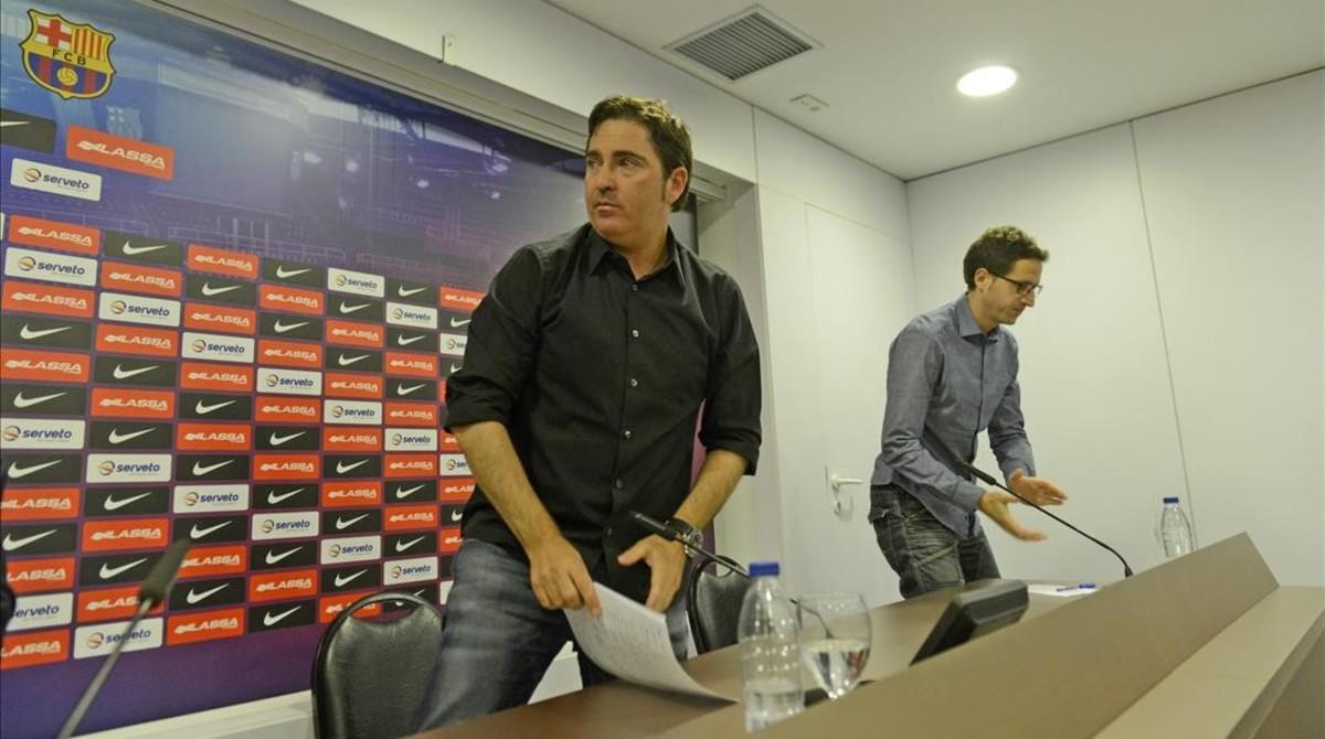 Xavi Pascual, en el acta de su despedida del Barça el pasado junio