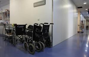 Sala de acceso al CUAP Manso, el centro de urgencias del Eixample, en Barcelona, este jueves.