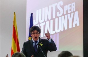 Carles Puigdemont, en un acto de campaña en Bruselas.