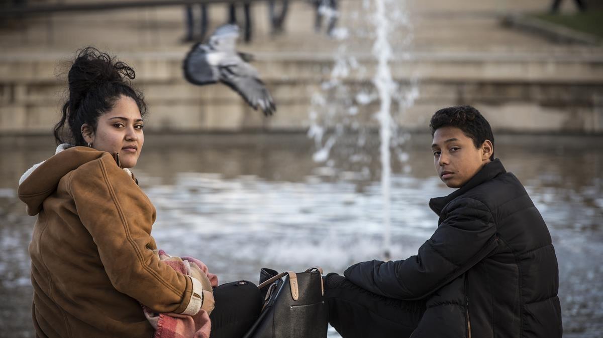 Esperanza y Jonás,en el parque de la Ciutadella.