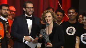 Màxim Huerta y Carlota Pereda, ganadora del Goya al mejor corto de ficción.