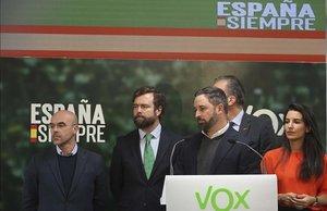 Jorge Buxadé, Iván Espinosa de los Monteros, Santiago Abascal, Javier Ortega Smith y Rocío Monasterio, en la sede de Vox en septiembredel 2019.