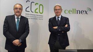 Tobias Martínez, consejero delegado,y Franco Bernabepresidente de Cellnex.