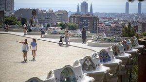 Aspecto del Park Güell, con pocos turistas, este mes de agosto.