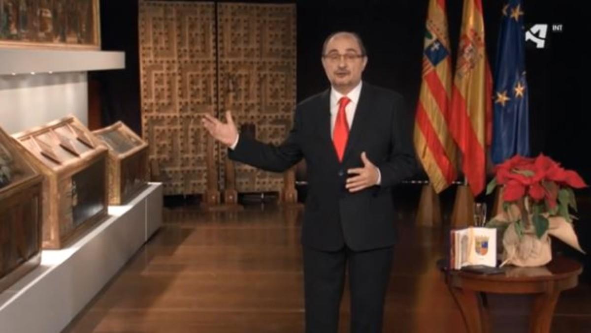 El presidente de Aragón despide el año con las obras de Sijena