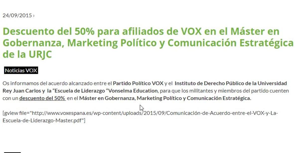 Vox Ofrecía Un Descuento Del 50 Para Un Máster De Urjc
