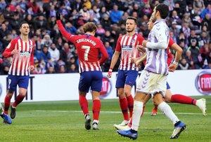 Griezmann celebra uno de sus goles en Valladolid.
