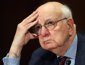 (FILES) In this file photo taken on February 02, 2010 Paul Volcker, Chairman of the President's Economic Recovery Advisory Board testifies before the Senate Banking, Housing and Urban Affairs Committee on Capitol Hill in Washington, DC. - Volcker, who tackled American inflation in the 1970s and '80s and later leant his name to landmark Wall Street reforms, died December 8, 2019 according to media reports December 9,2019. Volcker, who headed the US central bank from 1975 to 1987, was 92. (Photo by Tim SLOAN / AFP)