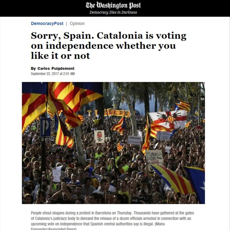 Captura del artículo de Carles Puigdemont en 'The Washington Post'.