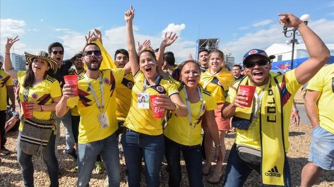 Aficionados colombianos en el Mundial de Rusia.