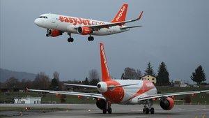 Airbus de Easyjet despegando en Ginebra.