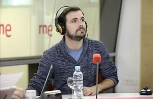 El diputado de IU Alberto Garzón, en la entrevista que ha concedido este lunes a RNE.