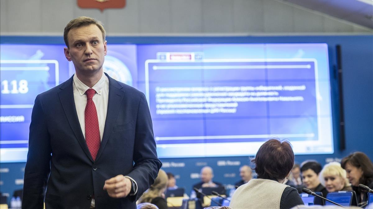 Alexei Navalny, tras conocer la decisión de la Comisión Electoral rusa, el 25 de diciembre del 2017.
